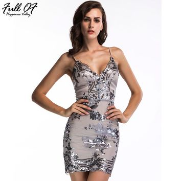 Sexy Women Gold Black Summer Sequins Dress 2017 New Luxury Club V-neck Backless Sundress Sleeveless Mini Sequined Party Dresses
