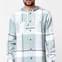 Modern Amusement Plaid Flannel Hooded Long Sleeve Button Up Shirt - Mens Shirt