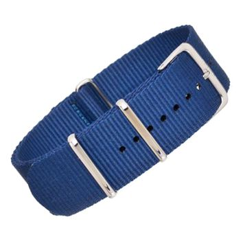 22mm Blue Nylon NATO - Silver Buckle