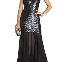 BCBG Marielle Python Sequined Gown