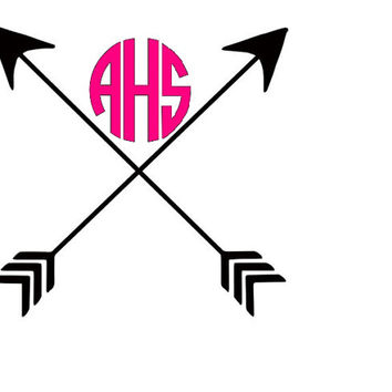 Monogram Arrow Decal - Crossed Arrows Monogram Car Sticker
