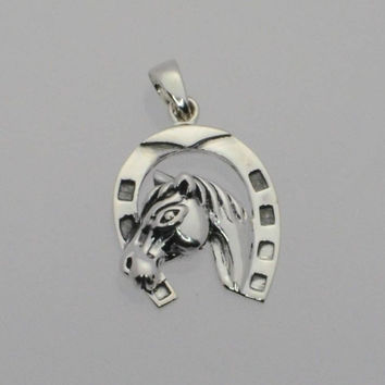 .925 Sterling Silver Horse Horseshoe Pendant Western 24mm