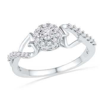 10kt White Gold Women's Round Diamond Cluster Heart Promise Bridal Ring 1/6 Cttw - FREE Shipping (US/CAN)