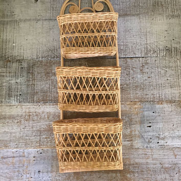 Wicker Mail Holder Mid Century Mail Organizer Rattan Wall Mount Letter Holder Wicker Mail Sorter Vintage Wicker Storage Bill Holder