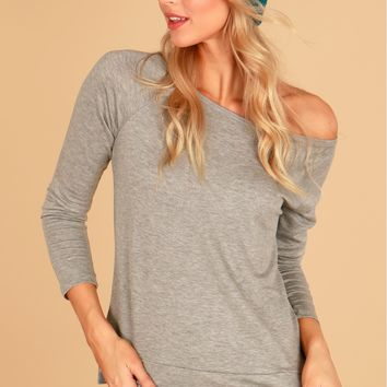 Scoop Neck Tee Heather Grey