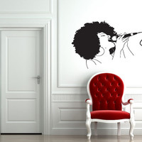 Singer Wall Art Vinyl Sticker Decals Mural Beautiful Woman Afro Jazz Girl 240