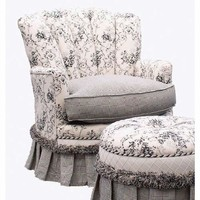 Angel Song 201421127DOWN Toile Black Adult Princess Glider Rocker w/ Plush Down Cushion