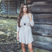 Crochet Paisley Dress in Taupe