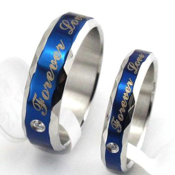"Titanium Stainless Steel ""Forever Love"" Engagement Bands Couple Rings"