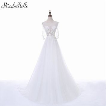 Modabelle Vestido Noiva Simples 2017 Sexy Sheer Bridal Dresses With 3/4 Sleeves A-Line Lace Wedding Dress Beach Wedding Gowns