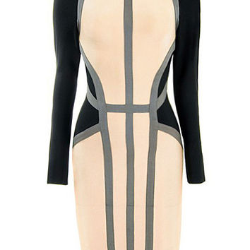 Long Sleeve Color Contrast Party Bandage Dress