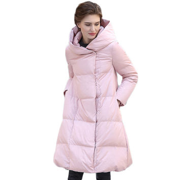 European Style Fashion Simple Solid Women's Down Jacket Winter 2017 New Arrival Covered Button Winter's Coats Female Y2215