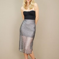 Strapless cocktail dress with silver chain-mail skirt, avalon dress | shopcuffs.com
