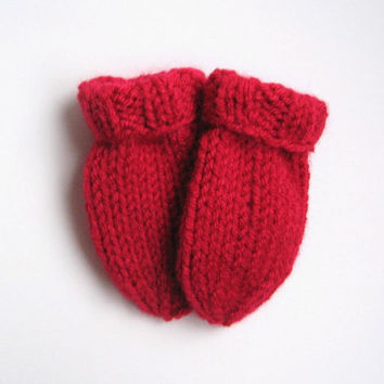 Newborn Baby Mittens in Dark Red 0 - 3 months - Hand Knit Childrens Thumbless Mitts - Infant Clothing Baby Girl Baby Boy Winter Baby Mittens