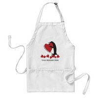 I Love You More! - Penguin Red Hearts Personalized Adult Apron