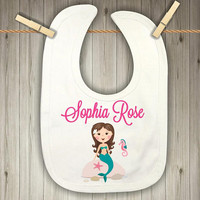 Personalized Mermaid Bib for Girls - Baby Shower Present for Girls - 1st Birthday Smash Cake - Drool Bib - Teething Bib - Mermaid Bib