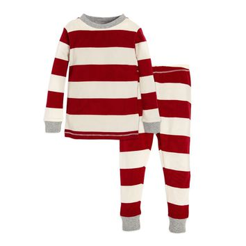 Rugby Stripe Organic Toddler and BIG KIDS Holiday Pajamas