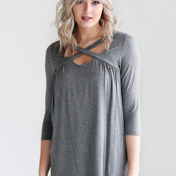 Dark Heather Gray DLMN 3/4 Sleeve Criss Cross Top