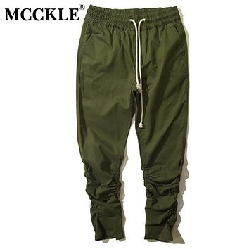MCCKLE  Mens Drop Crotch Sweatpants Ankle Zipper Drawstring Man Hip Hop Harem Pants Elastic Cuff Joggers Men Pantalones