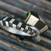 $175.00 CYBER MONDAY Cleopatra Snake ring with emerald in by artsgallery
