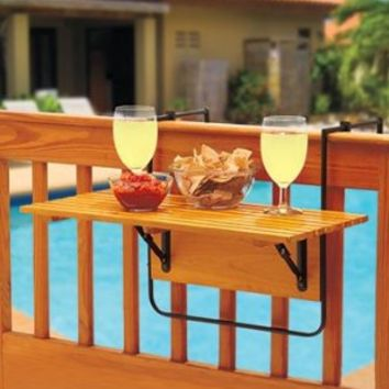 Folding Deck, Railing, Balcony, Patio Table - Assembled 95%! Holds up to 50 pounds.