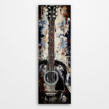 Guitar painting, Acoustic Guitar art, Music art, Gift for musicians, Original blue, brown, gray guitar painting on 36x12 inch canvas