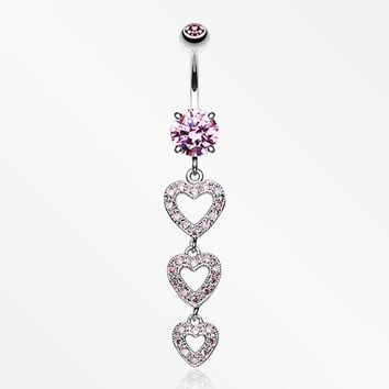Sparkling Heart Cascade Belly Ring