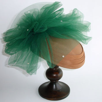 Vintage Fascinator Hat, Huge Tulle Netting Pouf, Rhinestones, Brown Taffeta, Emerald Green, Kate Middleton Pin Up Retro Rockabilly Hat