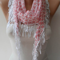 Perforated Fabric - White and Red Cotton Scarf with White Trim Edge - ON SALE