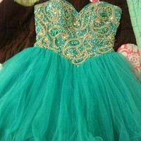 Adorable Sweetheart Green Ball Gown Short Prom Dress from FancyGirl