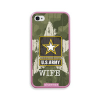 Shawnex US Army Wife Camo Pink Silicon Bumper iPhone 4 & 4S Case - Fits iPhone 4 & 4S
