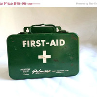 On Sale Vintage  First Aid Kit, Green Metal Pulmosan First Aid Kit with original Inserts,  Antique First Aid Kit