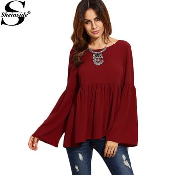 Women Fashion Burgundy Bell Sleeve Cutout Back Babydoll Blouse