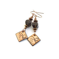 Earrings Copper and Brown Grapevine