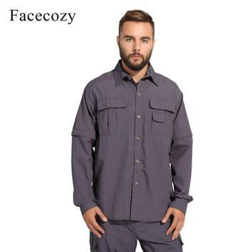 Facecozy Men Summer Quick Dry Hiking Shirt Removable Fishing&Hunting Shirt Breathable Rock Climbing Shirt Male Outdoor Shirts