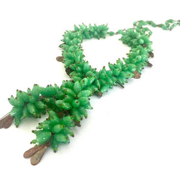 Early Long Green Czech Glass Necklace, Unique Green Glass Bead Clusters, Brass Tone Metal Tab Spacers, Handmade One of a Kind 1920s 1930s,