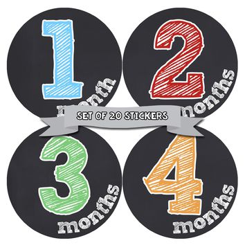 Gender Neutral Monthly Baby Stickers - Baby Month Deluxe Sticker Set of 20