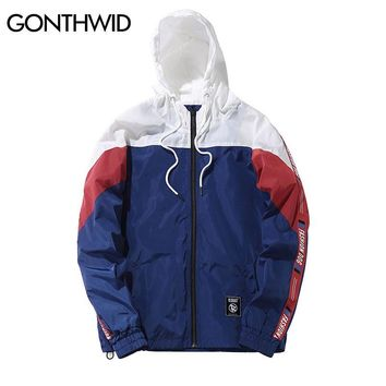 Trendy GONTHWID Color Block Patchwork Windbreaker Hooded Jackets Men Hip Hop Full Zip Up Pullover Tracksuit Jacket Fashion Streetwear AT_94_13