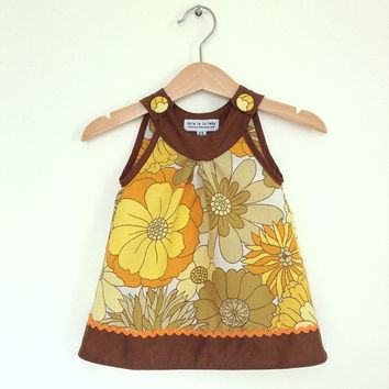 New born girl baby dress, 0 to 6 months, mustard yellow vintage florals, infant dress, retro baby girl clothes uk