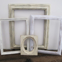 Antique White Picture Frame Set Of 4 Shabby Chic Wall Decor
