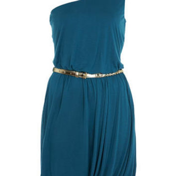 Teal One Shoulder Bubble Dress - View All - Going Out - Miss Selfridge