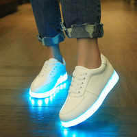 Korean Multi-color Noctilucent Lightning Couple USB LED Shoes [6734552327]