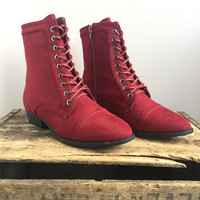 A Lucy Laced Boot in Red Suede