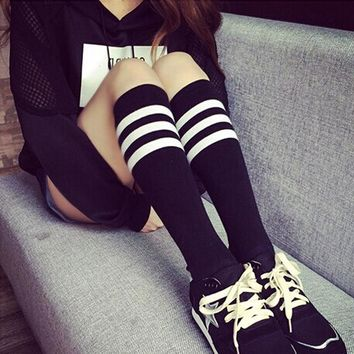 Women Stockings Fashion Spring Autumn Stripped Over Knee Socks For Ladies Girl Hot Knitting Thigh High Stocking Y4