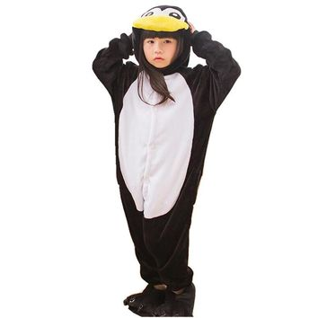 DOUBCHOW Kids Boys Girls Black Penguin Onesuits Costumes Cartoon Cute Pajamas Halloween Christmas Cosplay Kigurumi Lounge Wear