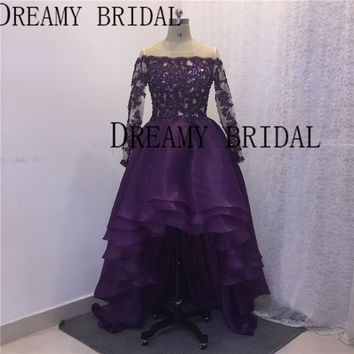 Real Yousef Evening Dresses Long Sleeves High Front Low Back Sheer Lace Beads Sequined Organza Gowns
