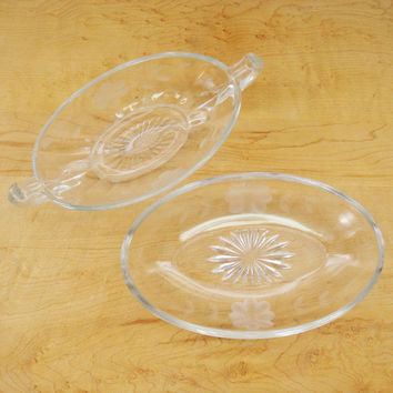 Relish Dish Set, Flower Etched Small Bowls with Handles, Clear Glass Bowls, Candy Dish