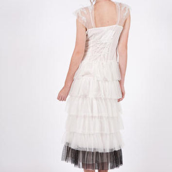 Prom Dress, White and Black, Tulle Dress, Flapper Dress, Great Gatsby Dress, Lace Dress, Downton Abbey, Bridal Dress Size Large