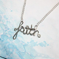 Faith Necklace - Silver Christian Jewelry - Inspirational Gift for friend, mom, sunday school teacher