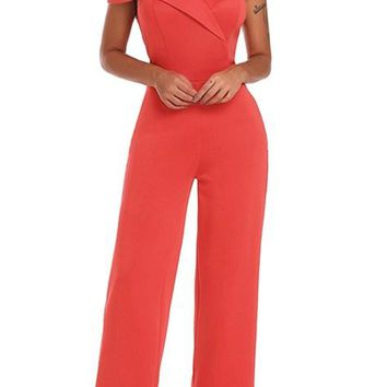 Coral Red Every Heart Off Shoulder Wide Leg Jumpsuit